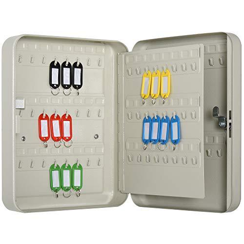 HOMCOM Armario de Llaves Caja de Seguridad para Llaves Bloqueable con 93 Ganchos y Etiquetas 2 Cerraduras Accesorios de Montaje Incluidos 30x24x7,5 cm Beige