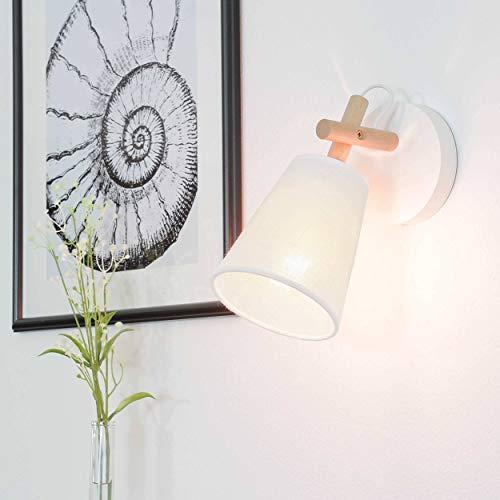 Wandleuchte Skandinavisches Design Creme Weiß Holz Stoffschirm Trichter E27 Flurlampe Wandlampe