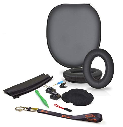 SoundSwirl Replacement Cushion Made of Soft Korean Leather Ear Pads, Headband and Headphone PU Case Repair Kit for Bose QC2, QC15 - The Headband is Compatible with ONLY These Two Models