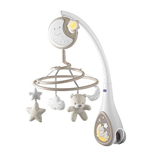 Chicco Next2Dreams Babybett Mobile mit Licht und Musik - 3 in 1 Baby Mobile Kompatibel mit Next2Me Babybett, mit Soundeffekten, Nachtlichtprojektor und Klassischer Musik - 0+ Monate, Beige