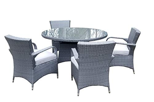 Fine Chairs Grey Rattan Outdoor Furniture Large Round Rattan Patio Dining Set -Nature 100cm Table with 4 Seater