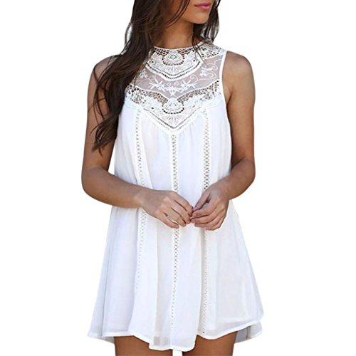 ♥ Mini Vestido de Gasa ♥ Mujeres Camisetas Casuales Blusa de Costu