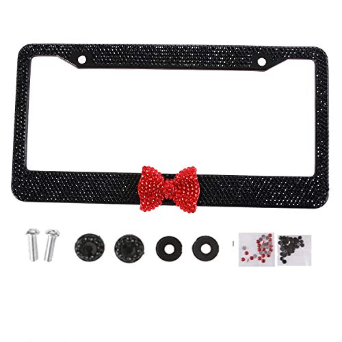 Handmade Fashion Black Frame Red Bow Bling Crystal Car License Plate Frame Cute Waterproof Gift Rhinestone SUV License Plate Holder Stainless Steel Truck Plate Frame for Woman(1 Frame)