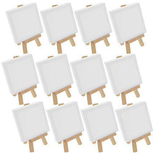"US Art Supply Artists 3""x3"" Mini Canvas & 5"" Mini Easel Set Painting Craft Drawing - Set Contains: 12 Mini Canvases & 12 Mini Easels"