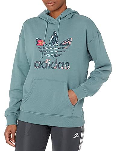 adidas Originals Hoodie Sudadera con Capucha, Esmeralda Nebulosa, L para Mujer