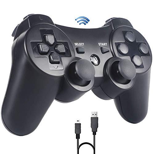 Sefitopher Manette PS3, Manette sans Fil pour Playstation 3 Bluetooth Manette avec Double Vibration Télécommande, Câble de Recharge