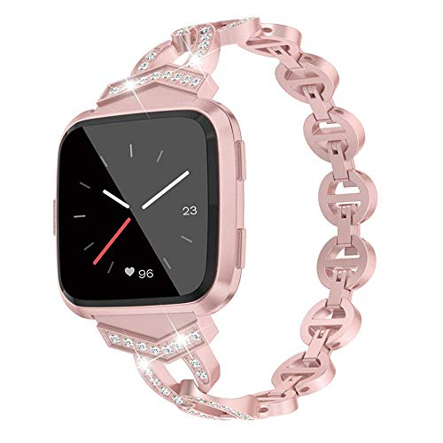 MVRYCE Armband für Fitbit Versa Lite, Bling Strass Edelstahlarmband Schlanke Demontage Ersatzband Damen Atmungsaktives Zubehör Armband Kompatibel für Fitbit Versa/Versa 2/Versa Lite (Roségold)