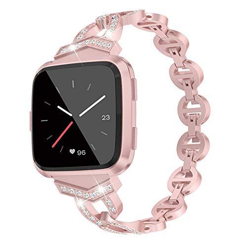 elecfan - Correas de Metal compatibles con Fitbit Versa, Versa Lite/Versa 2 Smart Watch para Mujeres, Correa de Repuesto de Acero Inoxidable, Correa Ajustable, Color Oro Rosa