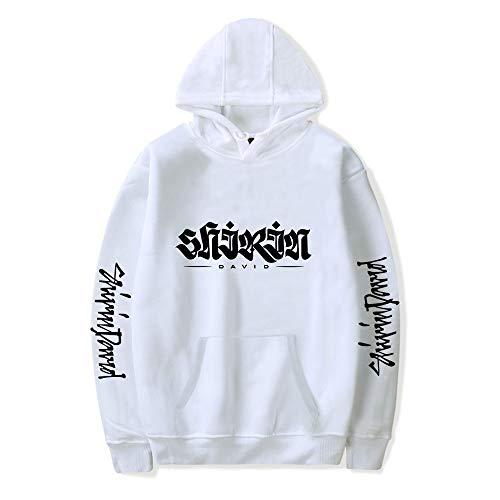 De.Pommeyeux 2020 Shirin David Hoodie Sweatshirt Damen Hip Hop Star Pullover Herren Sweatshirt Oversize Gr. L, Weiß-A31769