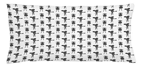 ABAKUHAUS Camera Throw Pillow Cushion Cover, Old Fashioned Film and Movie Industry Devices Auteur Cinema Theatre Show, Decorative Square Accent Pillow Case, 36 X 16 Inches, Dark Grey and White