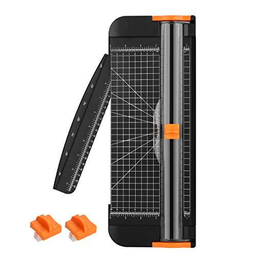 AGPTEK ペーパーカッター ミニ裁断機 コーナーカッター3枚 スライドカッター ポータブル 写真ブックA4 B5 A5 B6 B7 サイズ対応 スライドの刃があった 側面が横の方向で折りたたみの物差しがある 全能安全の切削 携帯に便利(黒)