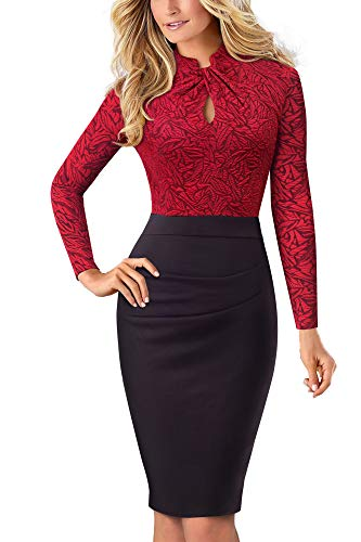 HOMEYEE Donna Vintage Colletto Stand Manica Corta Bodycon Business Vestiti a Matita B430 (S, Rosso + Manica Lunga)