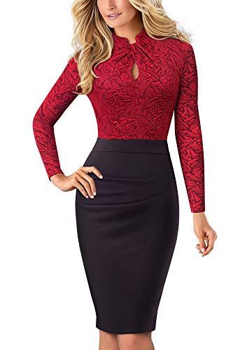 HOMEYEE Damen Vintage Stehkragen Kurzarm Bodycon Business Bleistift Kleid B430 (L, Rot + Lange Ärmel)