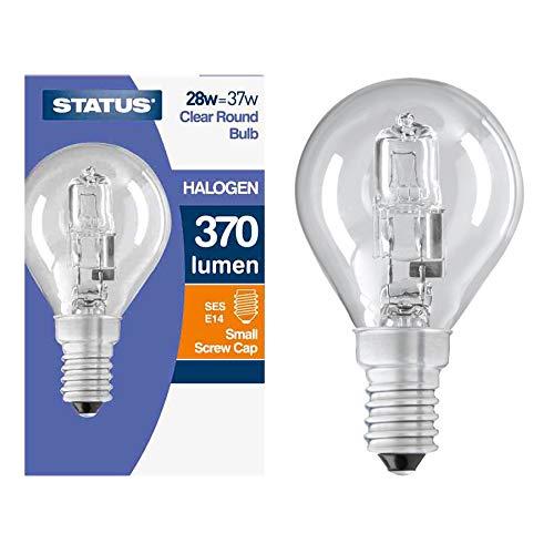 10 bombillas halógenas de bajo consumo de 28 W = 37 W SES E14 con rosca Edison pequeña para pelota de golf, estilo tradicional