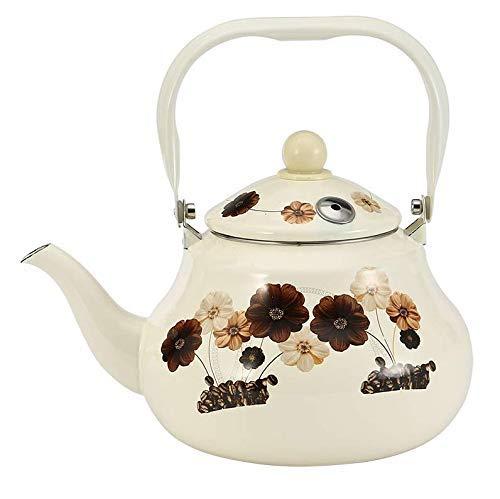 LULUTING Enameled Kettle Kettles Blanco Leche Silbato Olla De Agua Café Olla De Agua Flor Esmalte Olla De Agua para Herramienta De Cocina 2.5L Teapots