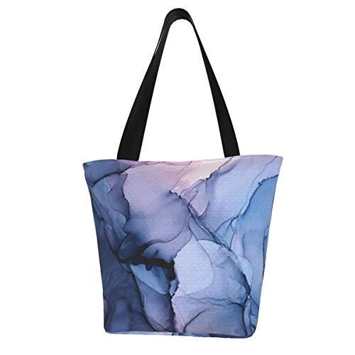 Bolsa de lona personalizada, cautivadora pintura con alcohol, lavable, bolsa de hombro, bolsa de compras para mujer