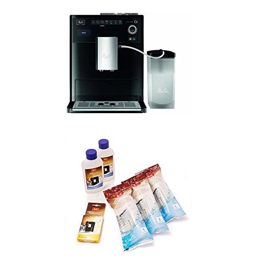 Melitta Caffeo CI E970-103, Kaffeevollautomat mit Milchbehälter, Zweikammern-Bohnenbehälter, One Touch Funktion + 6er Pflegeset für Kaffeevollautomaten, Wasserfilter, Flüssigentkalker, Reinigungstabs