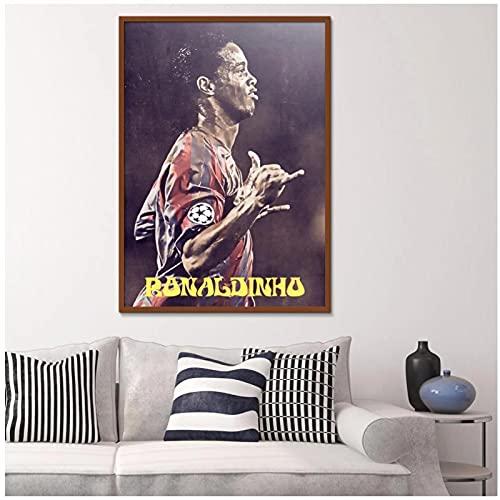 Zplbdw Ronaldinho Fußball Bewegung Figur Malerei Druck Poster Spray Ölgemälde Leinwand -50x70cmx1pcs -Kein Rahmen