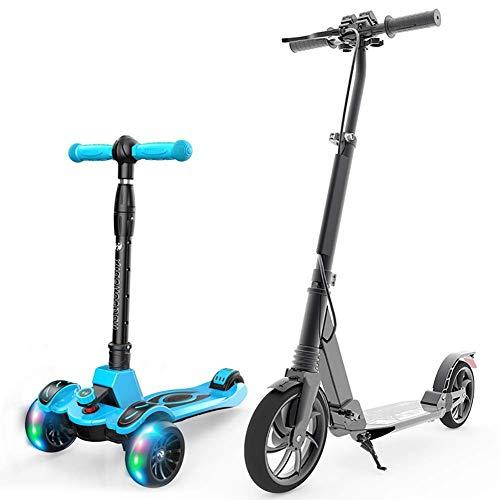 Ibuprofen Sport Scooter Mini Scooters Patada Plegable para Adultos con Freno Trasero Niños Ajustables 3 Tabla de Ruedas Intermitente para Maletero Paquete de 2 Juguete para Automóvil Mini Balance Al