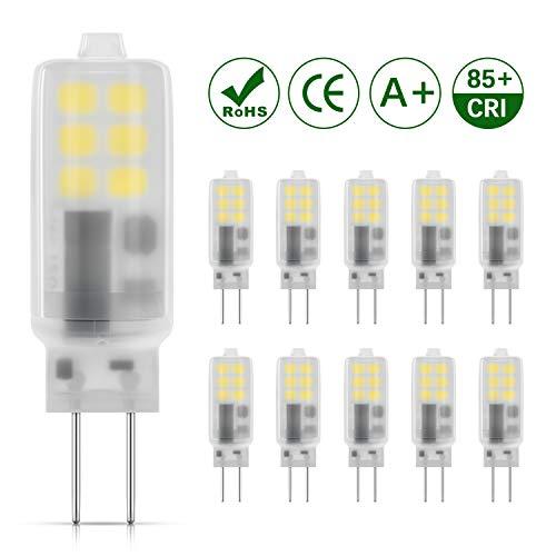 DiCUNO G4 LED Lampe 2W, AC/DC 12 V mit 230 LM, SMD,Kaltweiß 6000k, Ersatz für 25W Halogen Lampen, Nicht dimmbar, Kein Flackern, 10-er Pack