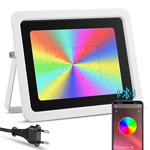 Foco LED RGBW de Exterior 100W Controlado por Teléfono Inteligente, IP68 Impermeable, Proyector LED Inteligente de color RGB, Iluminación Jardín Piscina Boda Fiesta(100W Blanco)