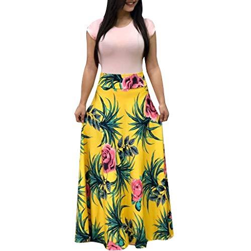 Elegante Kleider Damen Kleid Cocktailkleider Ronamick Frauen Sommer Kurzarm Floral Bedruckt Sommerkleid lässige Swing Kleid Maxikleid(XXL, Gelb)