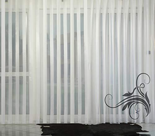 EASYHomefashion Hochwertige Fertiggardine - Voile Store STREIFENVOILE - Faltenband&Bleiband »CLASSIK« versch. Größen, 150 x 300 cm (HöhexBreite)
