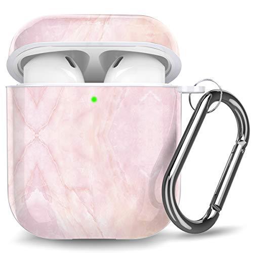 Ouwegaga Kompatibel mit Airpods Hülle, Marmor Bedruckt Stoßfeste Schutzhülle TPU Hülle Kompatibel mit Airpods 2 und 1, Unterstützt Kabelloses Laden, Marmor Rosa