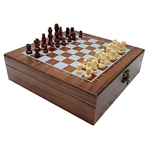 Juegos de mesa 4 en 1 Talla plegable Conjunto de ajedrez de madera Juego de ajedrez portátil Poker Domino Set para juegos familiares, niños, adultos tablero de ajedrez ( Color : Wood color )