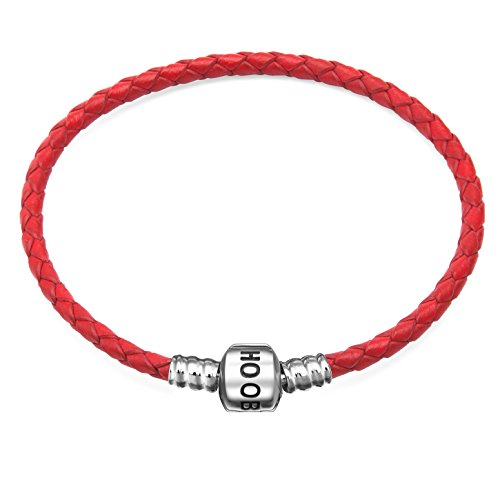 Hoobeads Genuine Red Leather Woven Bracelet with 925 Sterling Silver Barrel Snap Clasp Charms Bracelet (19 cm-7.5 inches)