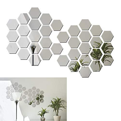 36 pezzi 50mm Argento Adesivo Specchio Esagono Murali da Parete Decorativo Decorazione per Casa...