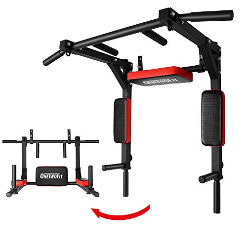 Photo of ONETWOFIT Multifunctional Wall Mounted Pull Up Bar/Chin Up bar, Dip Station for Indoor Home Gym Workout, Power Tower Set Training Equipment Fitness Dip Stand Supports to 440 Lbs OT126