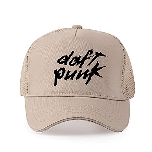 ZSQQ Pur Coton Hommes Daft Punk Logo Casquette De Baseball Imprimée Casquette De Style De Mode Femmes Beige