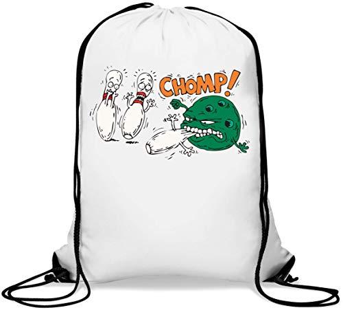 Bowling Ball Monster Eating Pins Funny Chomp Gym Sack Casual Drawstring Bag