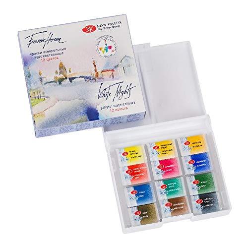 White Nights Artists' Watercolor 12 Pans Plastic Box Nevskaya Palitra