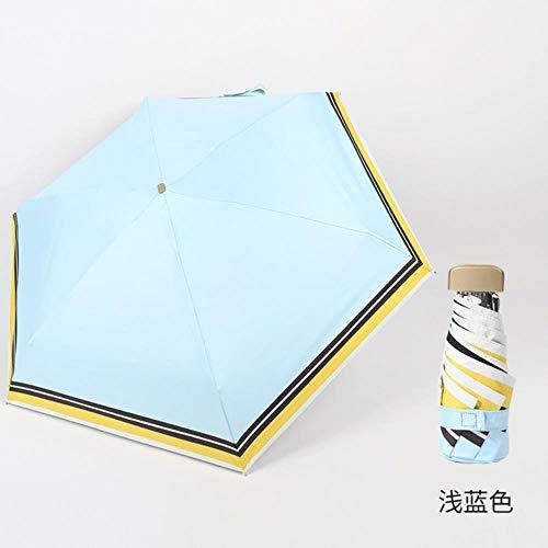 YQE Regenschirm Winddichter UV-Schutz 5 Klappbarer Sonnenschirm Tragbarer Reiseregen Regenschirm Regenschirm, Handbuch 6 Rippen
