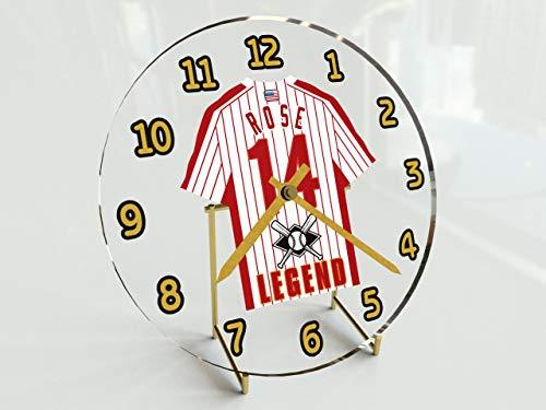 FanPlastic All-TIME Greats Baseball Legend Table Clocks - PETE Rose 14 Phillies Edition - 7' X 7' X 2' M L B Legends Jersey Themed Legend Clock