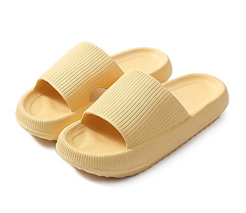 Zapatillas unisex ultra suaves, sandalias de suela gruesa, zapatillas de ducha de baño de secado rápido, zapatillas de casa para interiores y exteriores ( Color : Yellow , Size : 5-6 Women/4-4.5 Men )