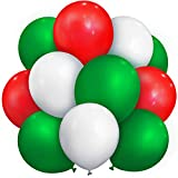 100 Pieces 13 inch Latex Balloons Colorful Round Balloons for Wedding Birthday Festival Party Decoration (Red, Green, White)