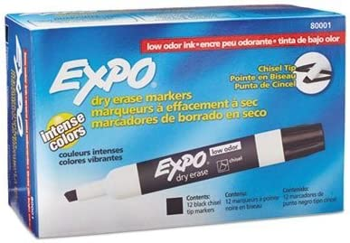 Award Expo 80001 Low Odor Chisel Point Un Dry Credence Erase Black 12 Markers