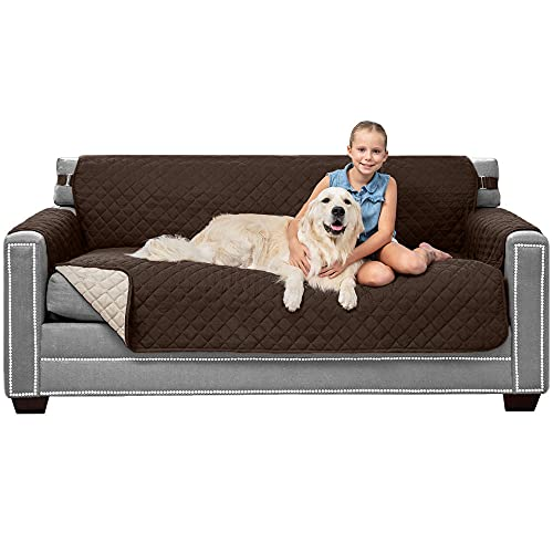 """Sofa Shield Patented Slipcover, Reversible Tear Resistant Soft Quilted Microfiber, 70"""" Seat Width, Durable Furniture Stain Protector with Straps, Washable Couch Cover for Dogs, Kids, Chocolate Beige"""