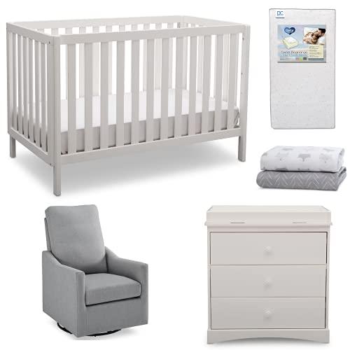 Delta Children Sutton 5-Piece Baby Nursery Furniture Set - Includes: Convertible Crib, Dresser with Changing Topper, Crib Mattress, 2 Crib Sheets & Glider, Bianca White