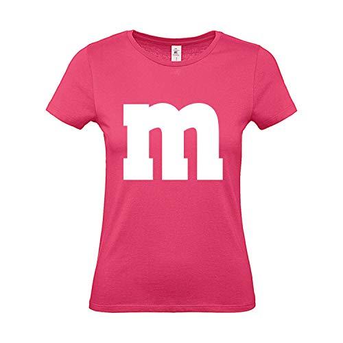 Shirt-Panda Damen T-Shirt M&M Gruppen Kostüm Karneval Fasching Verkleidung Party JGA Frauen Pink L