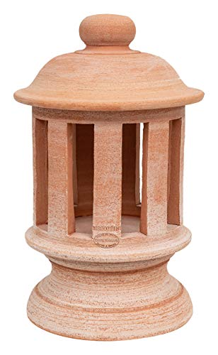 Biscottini Laterne aus Terracotta, 100 % Made in Italy, handgefertigt, Kerzenhalter für Zuhause, Endstück für Säulen L26 x T26 x H45 cm