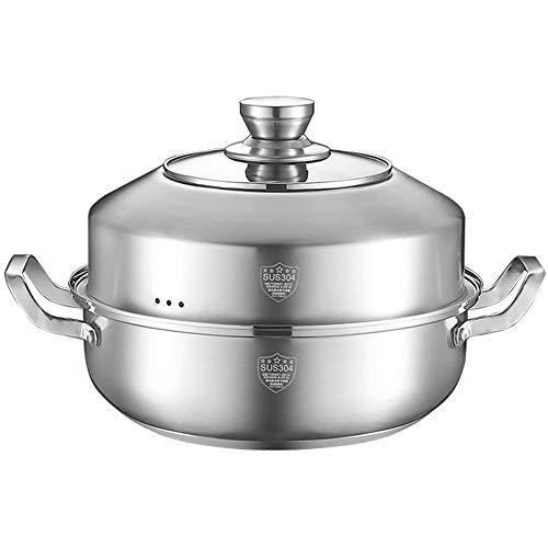 HIZLJJ Pot Vapor del alimento, los 28CM del Acero Inoxidable de una Sola Capa de Cocina Olla Hotpot Vapor del alimento Pot Utensilios Domésticos (Size : 30cm)