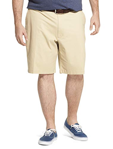 IZOD Men's Big and Tall Saltwater 9.5' Flat Front Chino Short, Pale Khaki Brown, 50