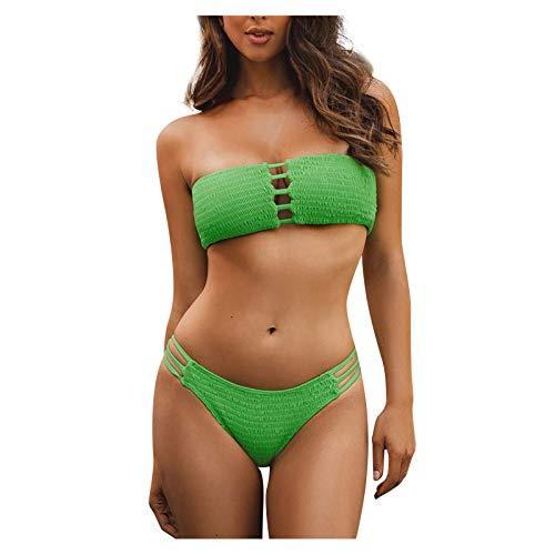 BBRS Traje de dos piezas del bikini del traje de baño de la parte superior del tubo del color sólido de las mujeres