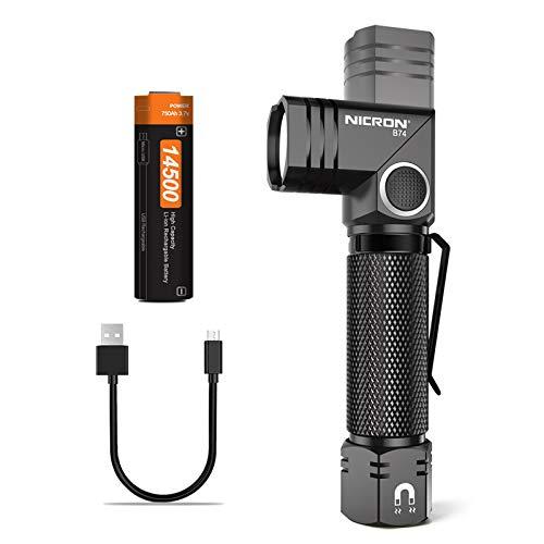 NICRON Mini Taschenlampe LED, 700 Lumen Handlampe, 90 Grad Drehbar Kopf, Magnet, IP65 Wasserdicht 5 Modi mit Memory Funktion für Tasche Outdoor Wandern inkl. Aufladbar 14500 Batterie B74