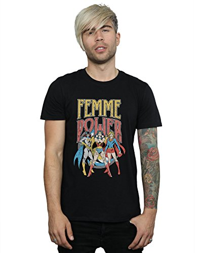 DC Comics Hombre Wonder Woman Femme Power Camiseta Small Negro