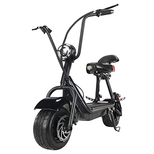 TOXOZERS Fat Tire Scooter for Adults Electric 20 mph Powerful Up 500w Electric Scooters with 2 seat Commuter Scooter Citycoco Scooter Black